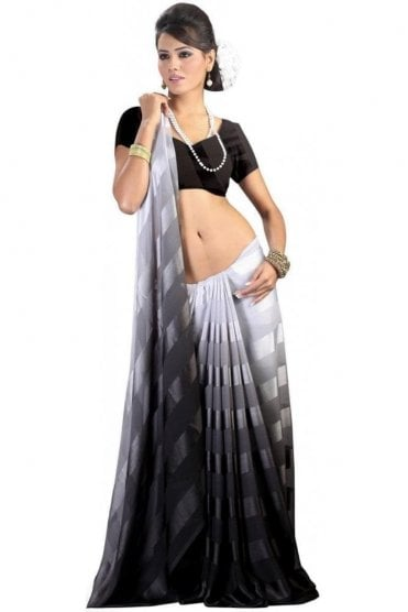 PPS20006 Black Satin Georgette Plain Shaded Party Saree