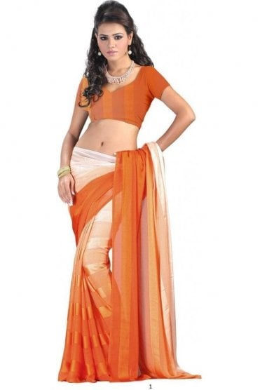 PPS20007 Rust Orange Satin Georgette Plain Shaded Party Saree