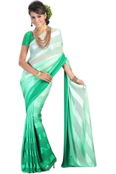 PPS20008 Green Satin Georgette Plain Shaded Party Saree
