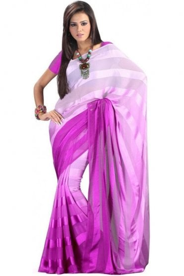 PPS20010 Purple Satin Georgette Plain Shaded Party Saree