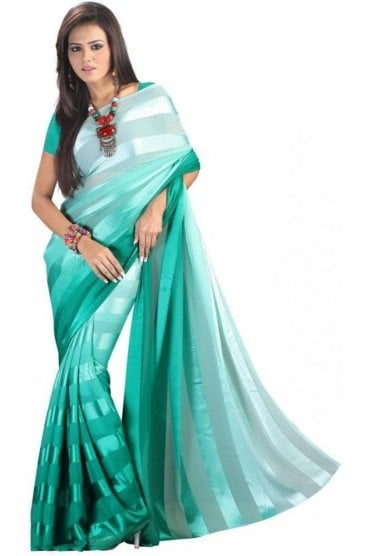 PPS20001 Jade Green Satin Georgette Plain Shaded Party Saree