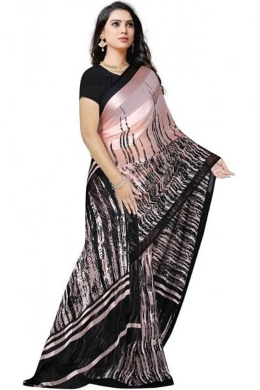 PPS20011 Rose Pink and Black Digital Printed Chiffon Geogette & Satin Silk Saree