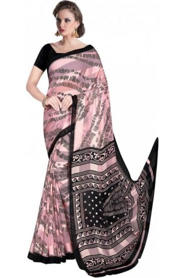 PPS20018 Pink and Black Digital Printed Chiffon Geogette & Satin Silk Saree