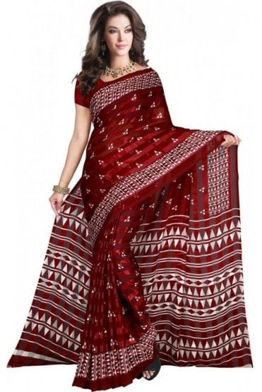 PPS20019 Maroon and White Digital Printed Chiffon Geogette & Satin Silk Saree