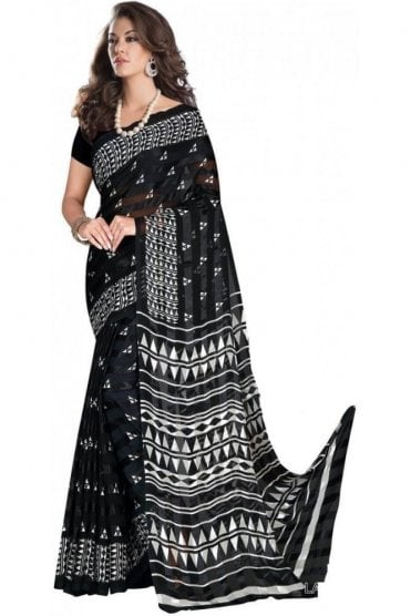 PPS20020 Navy Blue and White Digital Printed Chiffon Geogette & Satin Silk Saree