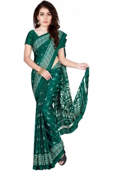 PPS20021 Jade Green and White Plain & Border Paisley Printed Chiffon Geogette & Satin Silk Saree
