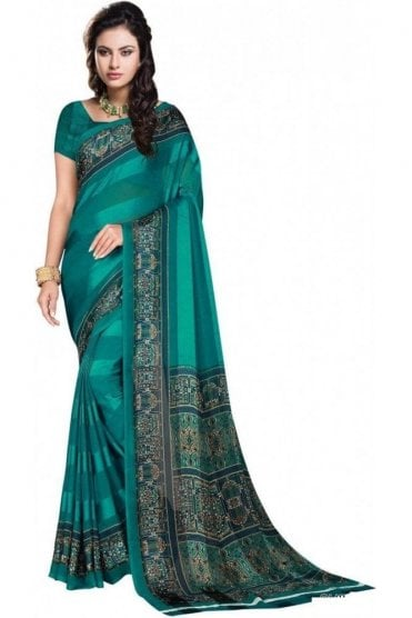 PPS20023 Jade Green and Blue Plain & Border Paisley Printed Chiffon Geogette & Satin Silk Saree