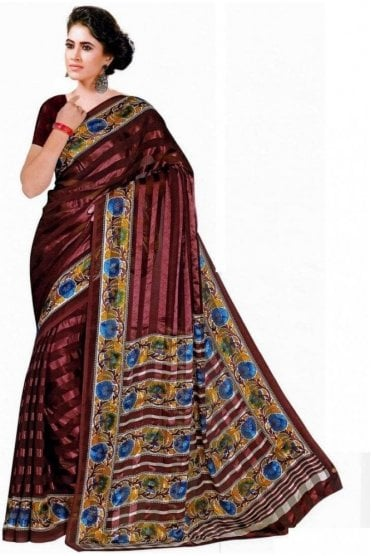 Classic Blue and Coffee Brown Chiffon Geogette & Satin Silk Saree with Matching Unstitched Blouse Piece