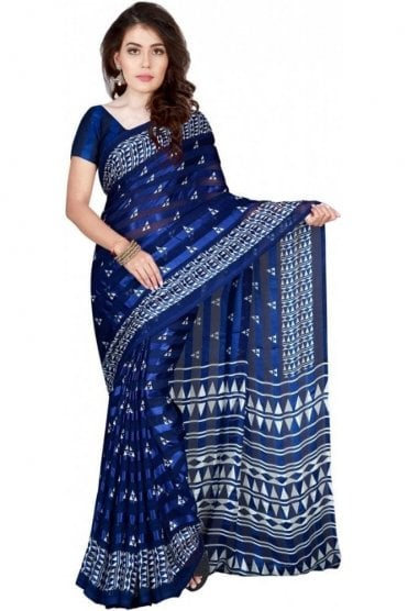 PPS20022 Blue and White Plain & Border Paisley Printed Chiffon Geogette & Satin Silk Saree