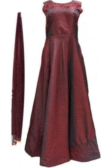 WPD20021 Dark Maroon and Red Designer Churidar Suit Gown