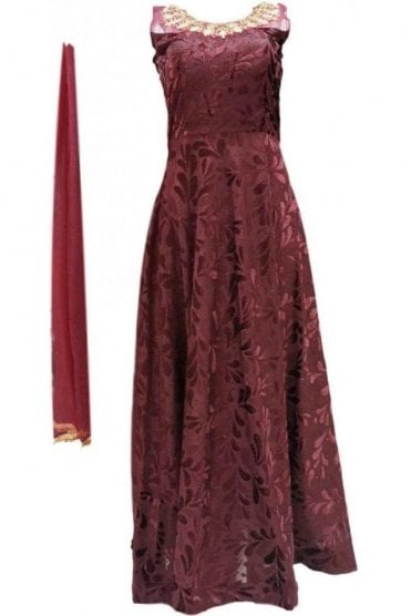 WPD20024 Dark Maroon and Gold Designer Churidar Suit Gown