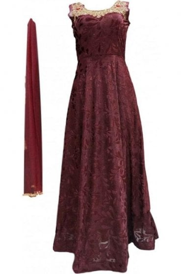 WPD20027 Dark Maroon and Gold Designer Churidar Suit Gown