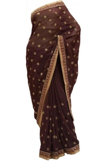 Stunning Gold and Brown Georgette Party Saree