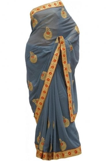 Contemporary Red and Grey Georgette Party Saree