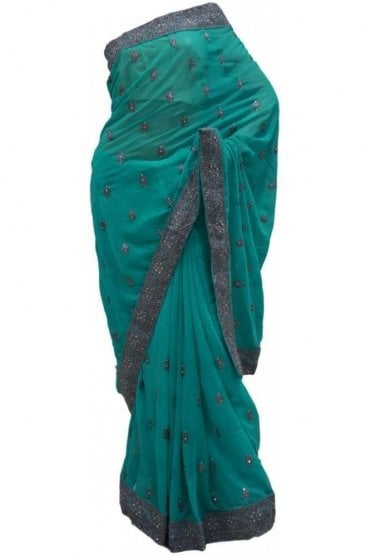 Chic Grey and Jade Green Georgette Party Saree