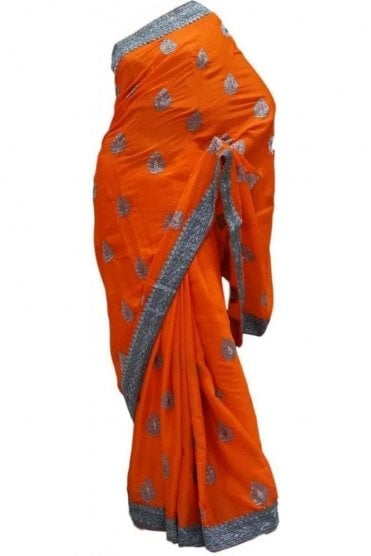 Gorgeous Orange and Grey Georgette Party Saree
