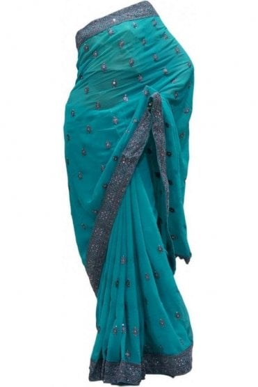 Fancy Sea Green and Grey Georgette Party Saree