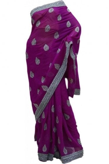 Gorgeous Purple and Grey Georgette Party Saree