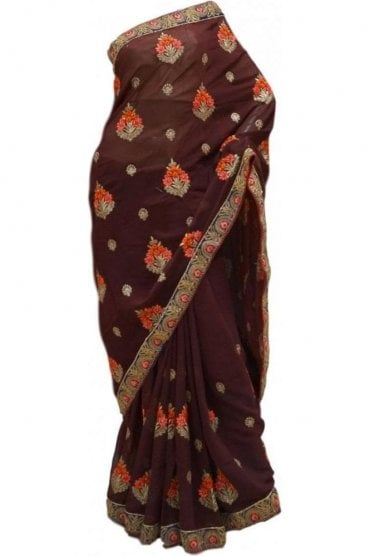 Elegant  Blue and Coffee Brown Georgette Party Saree
