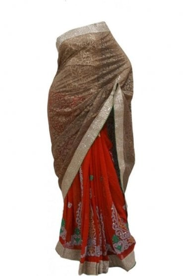 Beautiful  Red and Coffee Brown Georgette Party Saree