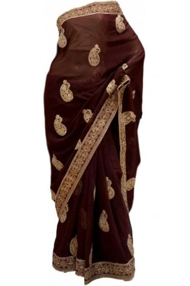 Contemporary Gold and Brown Georgette Party Saree