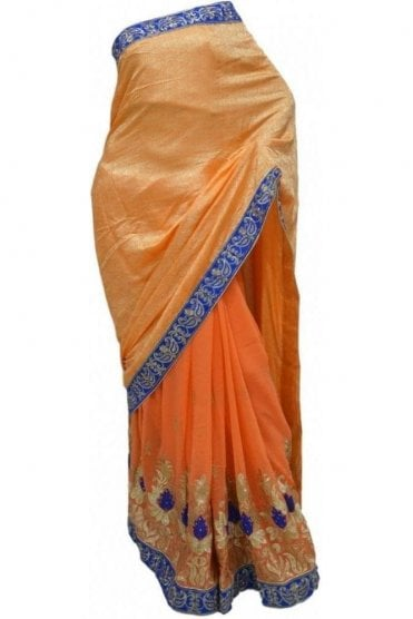 Contemporary Pink, Blue and Peach Georgette Party Saree