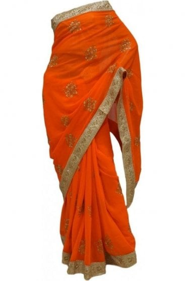 Chic Gold and Ornge Georgette Party Saree