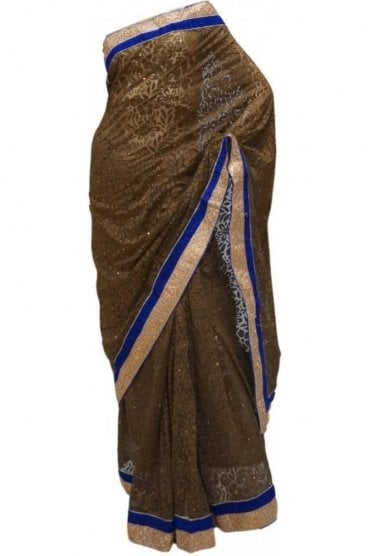 Elegant Blue and Brown Georgette Party Saree