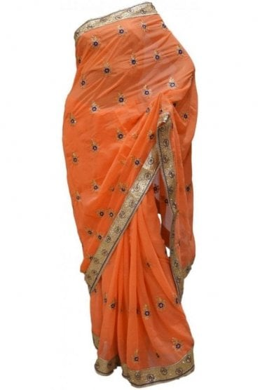 Gorgeous Pink, Blue and Peach Georgette Party Saree