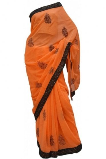Contemporary Black and Peach Georgette Party Saree