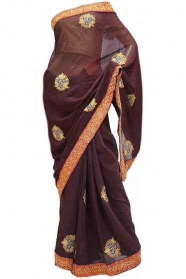 Exclusive Red, Blue and Brown Georgette Party Saree