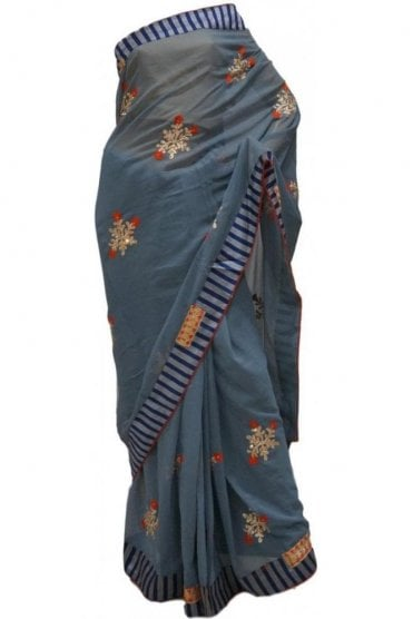 Classic Red, Blue and Grey Georgette Party Saree