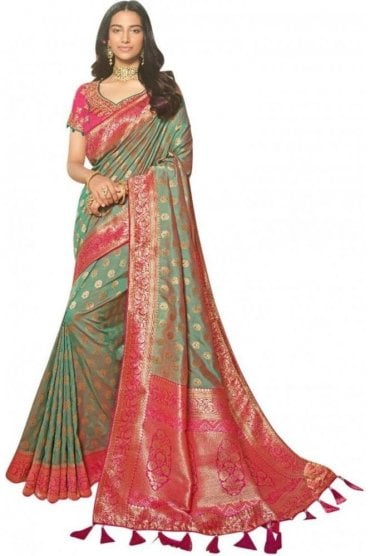 FAS20318 Grey Green and Pink Banarasi Silk Party Saree