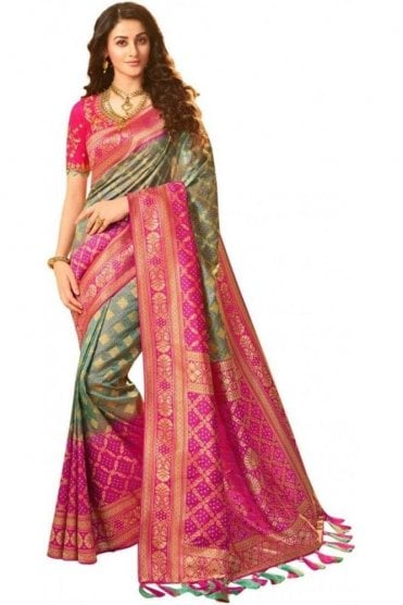 FAS20319 Grey Green and Pink Banarasi Silk Party Saree