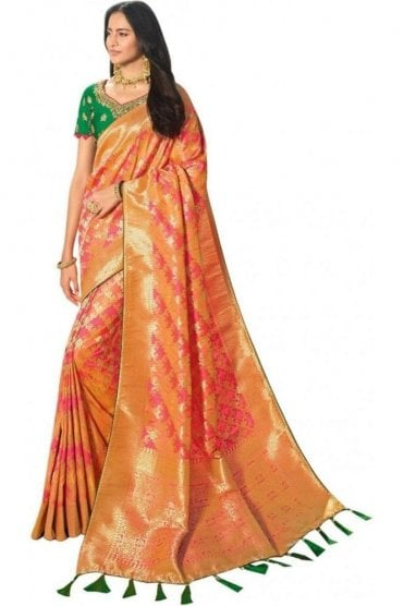 Stylish Pink and Peach Banarasi Silk Saree