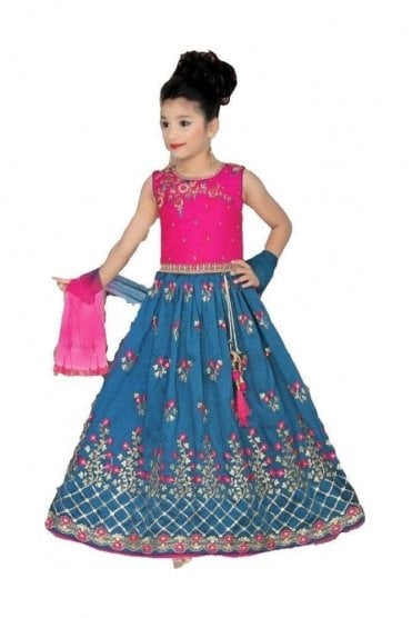 GLC20003 Pink and Midnight Blue Girl's Lengha Choli