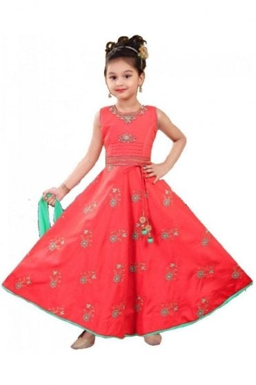 GCS20222 Light Red and Green Girl's Churidar Suit