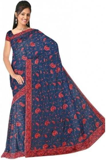 DSS20520 Blue and Pink Faux Satin Silk Saree