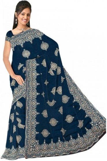 DSS20533 Teal and Sliver Faux Chiffon Geogette Saree
