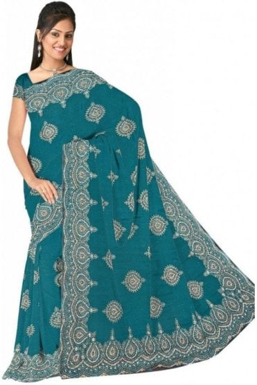 DSS20534 Green and Sliver Faux Chiffon Geogette Saree