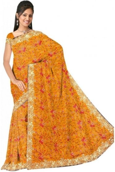 DSS20537 Orange and Gold Faux Satin Silk Saree