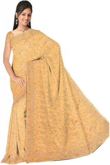 DSS20553 Yellow and Sliver Faux Satin Silk Saree