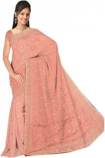 DSS20554 Pink and Sliver Faux Satin Silk Saree