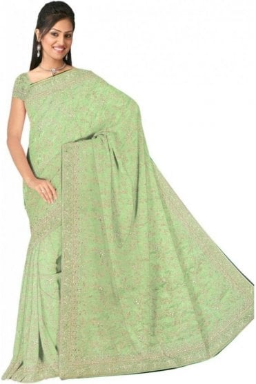DSS20556 Mint Green and Sliver Faux Satin Silk Saree