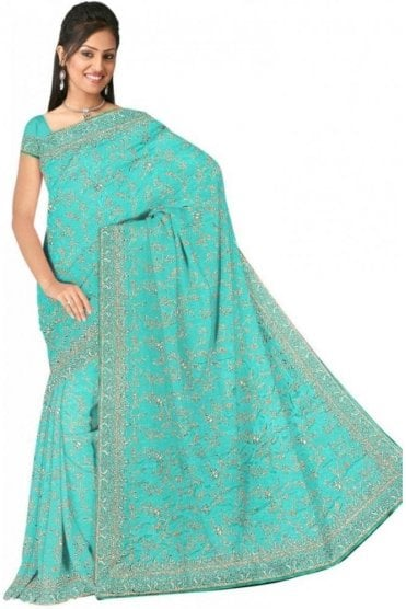 DSS20555 Blue and Sliver Faux Satin Silk Saree