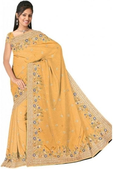 DSS20578 Yellow and Gold Faux Satin Silk Saree