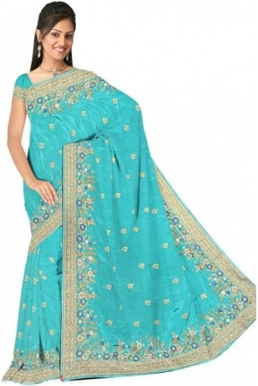DSS20579 Blue and Gold Faux Satin Silk Saree