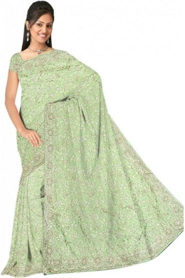 DSS20512 Mint Green and Sliver Faux Silk Saree