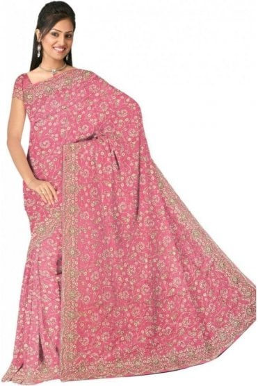 DSS20513 Pink and Sliver Faux Silk Saree
