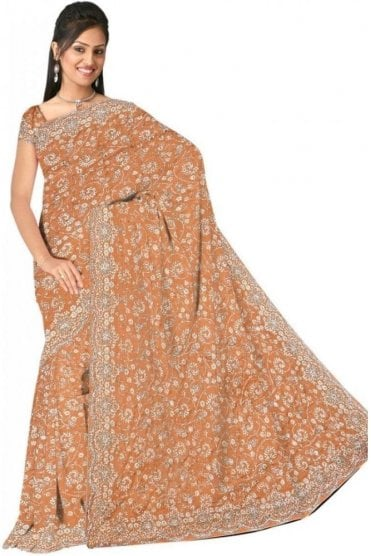 DSS20514 Gold and Sliver Faux Silk Saree